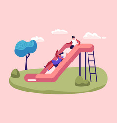 happy kids girls having fun sliding on outdoor vector image