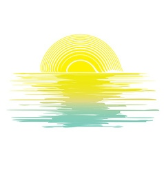 icon sunset in the sea vector image