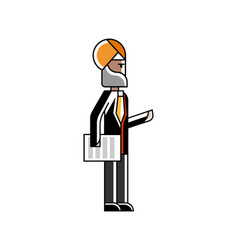 Indian businessman standing with document vector