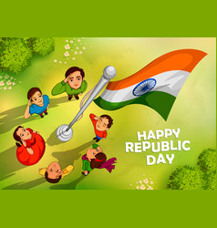 Indian people saluting flag of india with pride o vector
