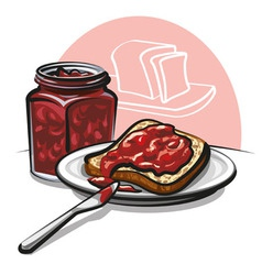 Jam with bread vector
