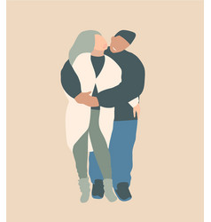 Lovers couple hugging smiling happy modern fashion vector