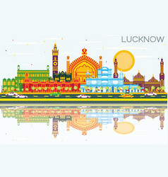 lucknow india city skyline with gray buildings vector image