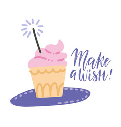 make a wish card with cupcake with pink cream vector image