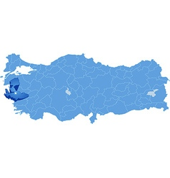 Map of Turkey Izmir vector