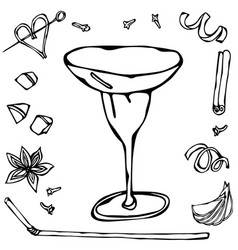 margarita or coupette coctail glass hand drawn vector image