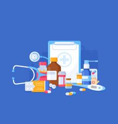 medicine pharmacy bottles pills vector image