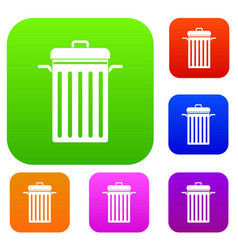 metal trash can set color collection vector image