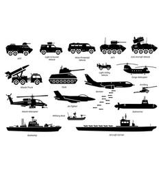 military combat vehicles transportation vector image