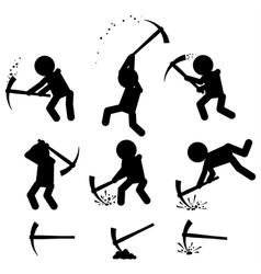 Mining figure symbols set black vector