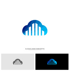 modern building cloud logo design concept cloud vector image