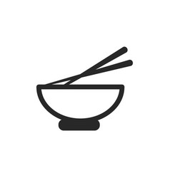 Monochrome japanese bowl with chopstick icon on vector