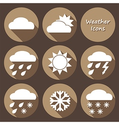 Monochrome round icons set of weather forecast vector