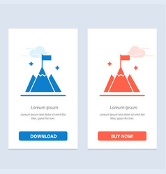 Mountain flag user interface blue and red vector