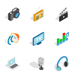 Movie and video icons isometric 3d style vector