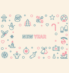 new year outline horizontal frame or vector image