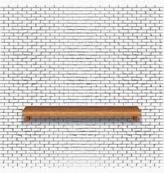 old brick wall with wooden shelf vector image