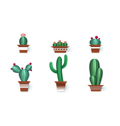 paper cactuses cute interior home decor paper vector image