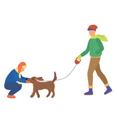 People walking with dog in winter park vector