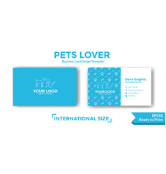 Pets business card design template vector