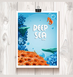 Poster with deep sea anemones and sea horse vector