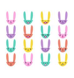 Rabbit handdrawn emoticons color 4 vector