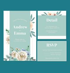 Retro style floral ember glow wedding card design vector
