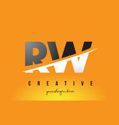 Rw r w letter modern logo design with yellow vector