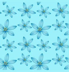 Seamless background design with blue flowers on vector
