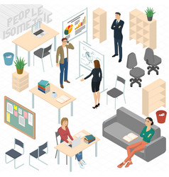 set isometric business people vector image