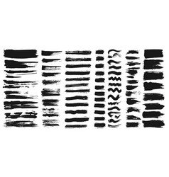 set of different ink paint brush strokes isolated vector image
