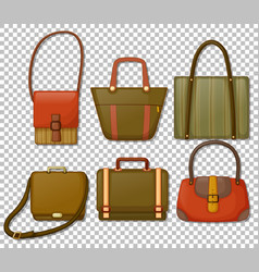set vintage hand bags cartoon style isolated vector image