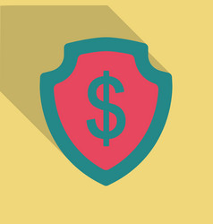 Shield with dollar symbol in flat style with vector