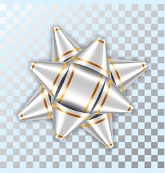 silver bow ribbon 3d decor element package shiny vector image