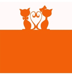 Simple abstract background with two cats vector