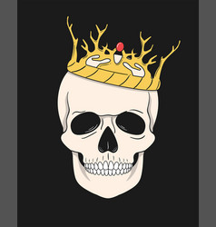 skull with crown for t-shirt and other uses vector image