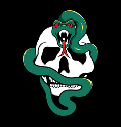 snake with skull cartoon vector image