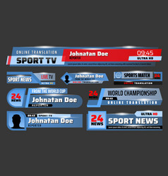 Sport news tv backdrops and title bars vector