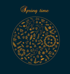 Spring round floral pattern with leaves and vector