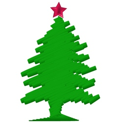 Stylized Christmas tree with red star vector image