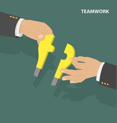 Teamwork flat isometric low poly concept vector