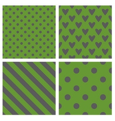 tile pattern set with green and grey backgrounds vector image