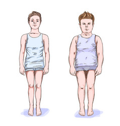 two boys fat and slim full color sketch vector image