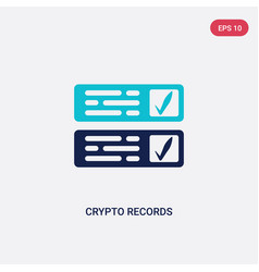 two color crypto records icon from cryptocurrency vector image