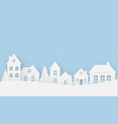 Views of the house in winter on a snowy day vector