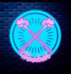 vintage hookah emblem glowing neon vector image