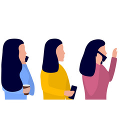 Woman with a phone in her hand talking on the vector