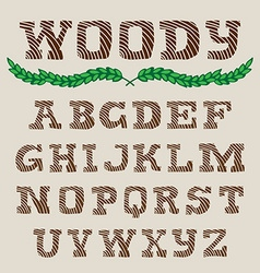 Woody - hand drawn alphabets handwriting striped vector