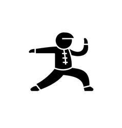 wushu black icon sign on isolated vector image