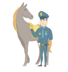 young caucasian police officer and horse vector image